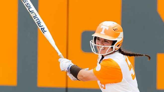 Tennessee's Meghan Gregg (55) swings during an NCAA Regionals softball finals game between Tennessee and Longwood at Sherri Parker Lee Stadium in Knoxville, Tennessee on Sunday, May 21, 2017.