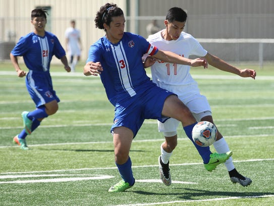 San Angelo Central's Marco Martinez (11) was one of 11 seniors who played their final match for the Bobcats in a 2-0 loss against Irving High in a Class 6A bidistrict playoff Thursday in Copperas Cove.