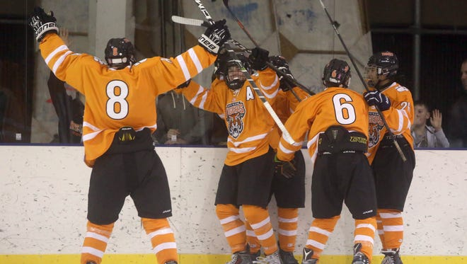 White Plains celebrates a goal by Rich Myers during the Guy Mathews Thanksgiving Invitational Hockey Tournament against Stepinac at the Ebersole Ice Rink in White Plains Nov. 25, 2017.