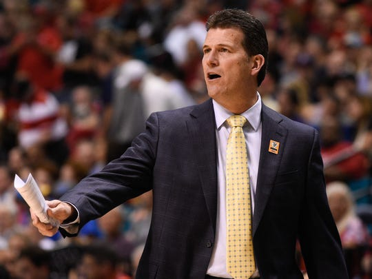 UCLA Bruins head coach Steve Alford instructs against the Arizona Wildcats during the first half in the semifinal round of the Pac-12 Conference tournament at MGM Grand Garden Arena.