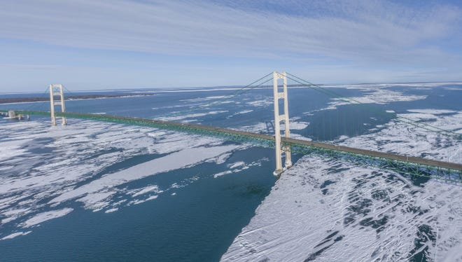 A snapshot of a 360-degree look at the Mackinac Bridge in February.