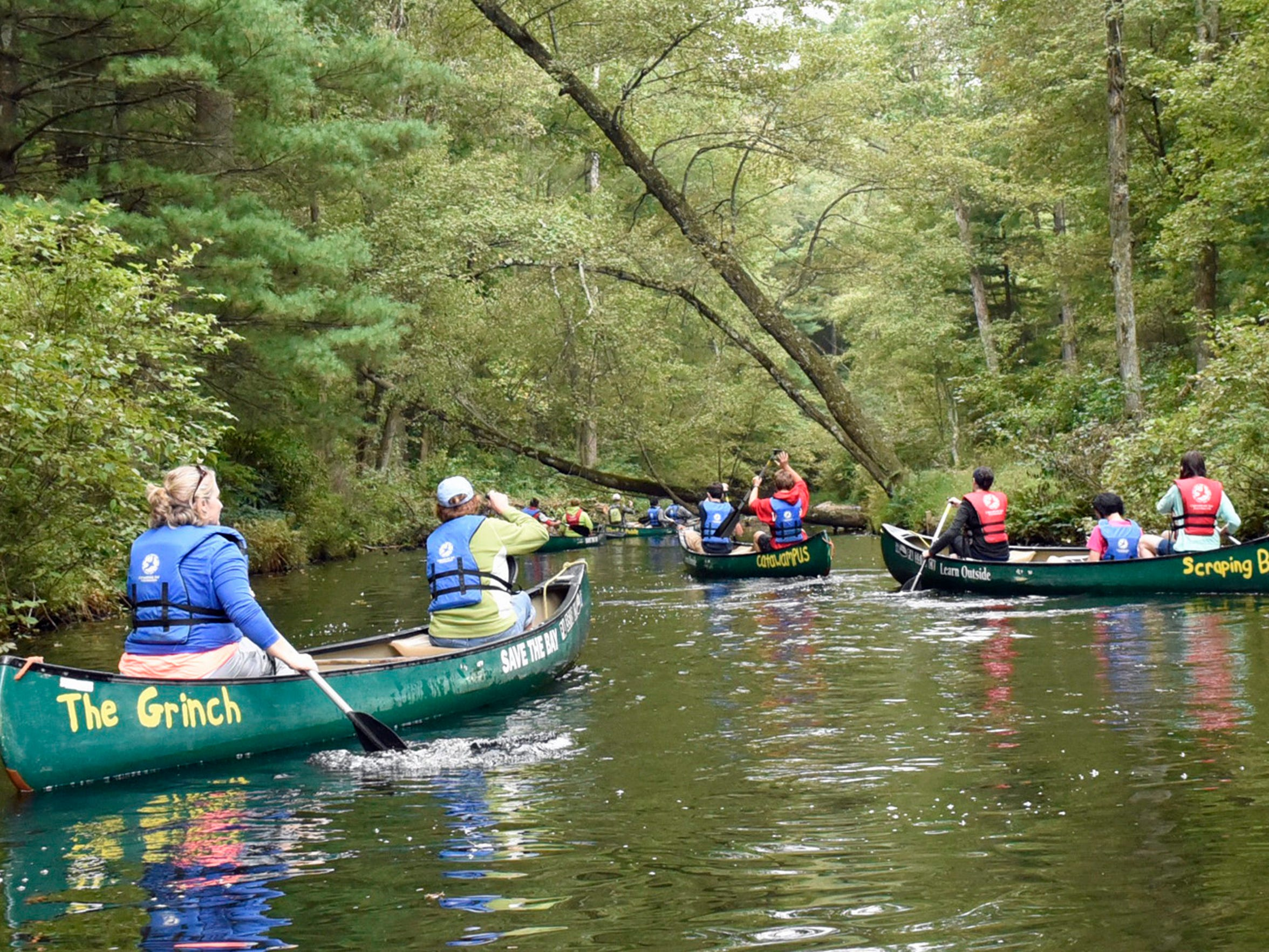 Students from Chambersburg Magnet School paddle in canoes on Monday, Sept. 26, 2016 along Laurel lake. A group of AP students conducted a watershed exploration with members of Chesapeake Bay Foundation during the Susquehanna Watershed Education Program (SWEP).