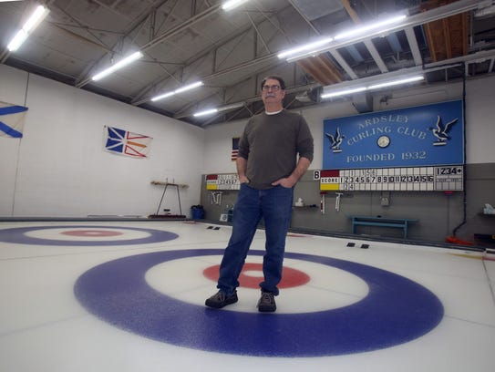 Joe Sablow, a member of the Ardsley Curling Club, at