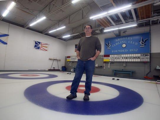 Joe Sablow, a member of the Ardsley Curling Club, at
