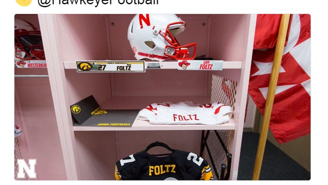 The Iowa Hawkeyes helped honor fallen Nebraska punter Sam Foltz with a nameplate as well as a jersey.
