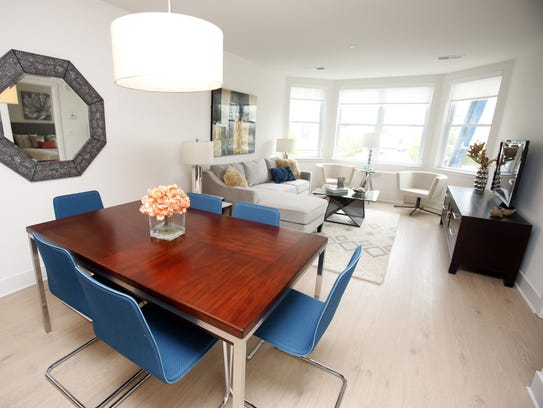 The dining/living area of a one-bedroom apartment at