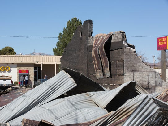 The charred remains of two buildings on Hall Street