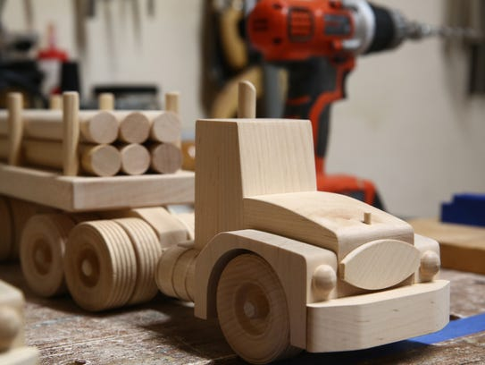 A wooden toy truck made by Charlie Walters on Tuesday,