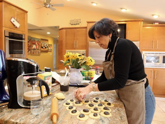 Sara Fuerst bakes hamentashen at home in New Hempstead