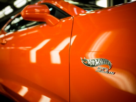 A Hot Wheels 50th Anniversary badge is seen on the
