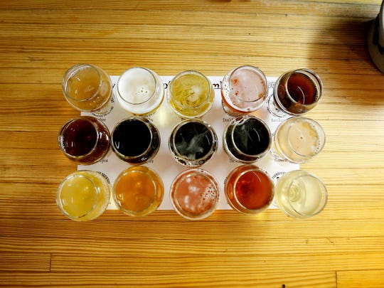 Fifteen drinks make up the Taste of the Farmhouse sampling selection at Farmhouse Brewery in Owego.