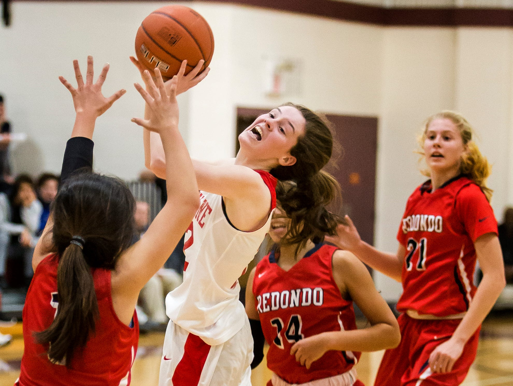 Ursuline's Magie Connolly puts up a shot in the second half of Ursuline's 39-26 win over Redondo Union High School in the Diamond State Classic at St. Elizabeth High School in Wilmington on Tuesday night.