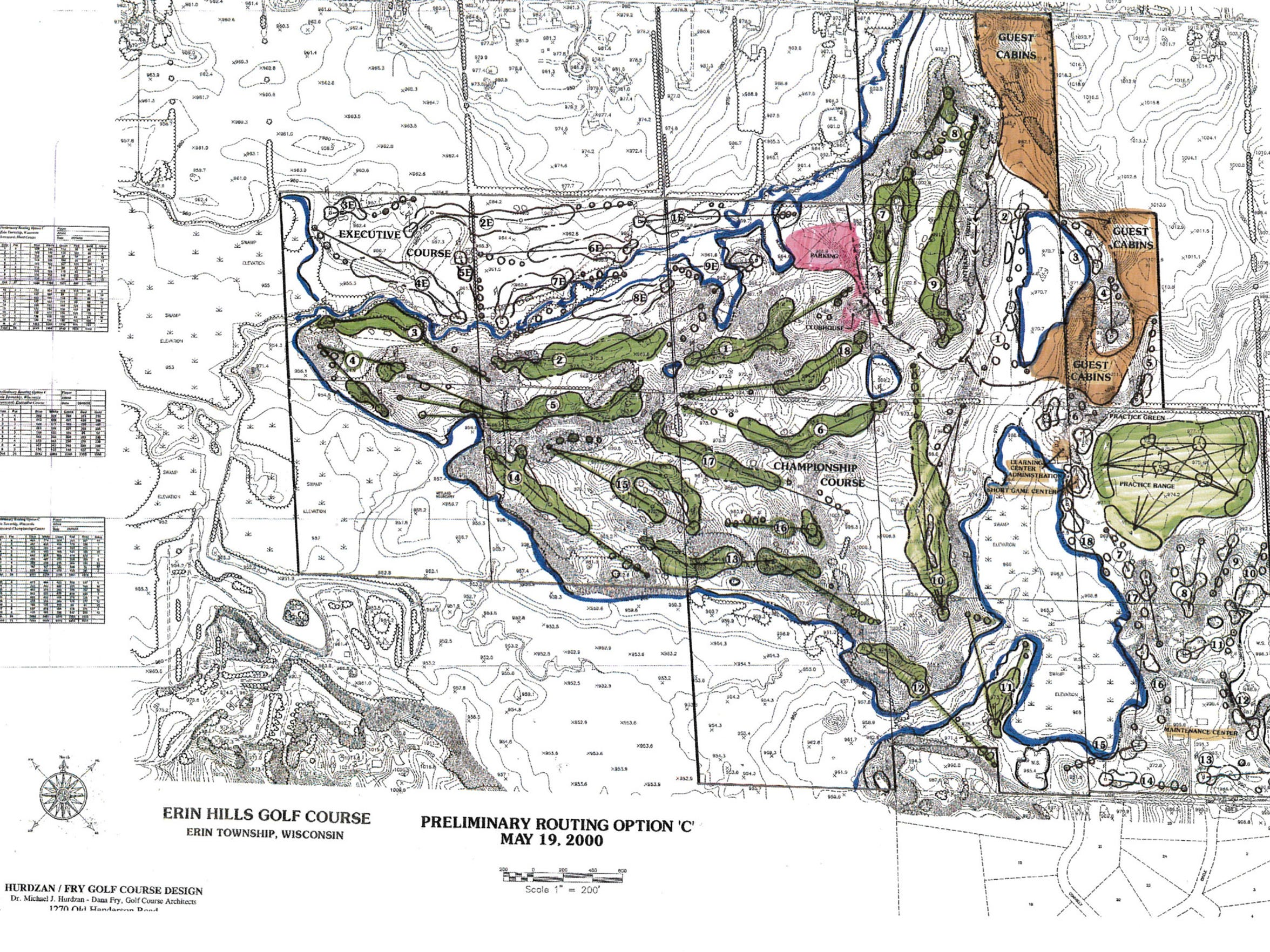 This was a circa 2000 routing of Erin Hills by Hurdzan-Fry-Whitten. The course underwent many re-routings after this.
