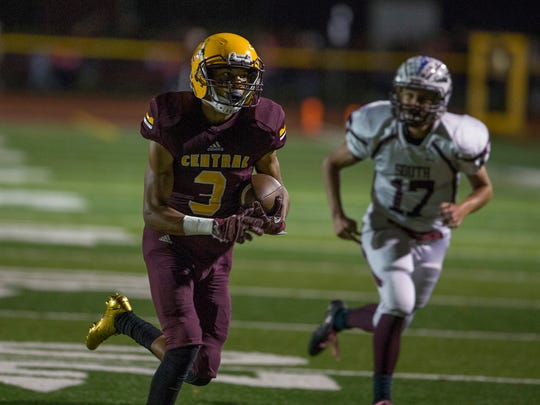 Central's Darius Martorano runs around left and for a touchdown in first half action. Toms River South Football vs Central Regional in Berkeley NJ on O her 13, 2017 in Red Zone Game of the Week.