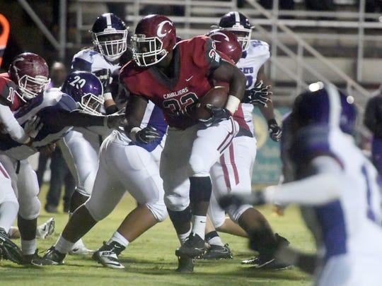 Crockett County's Jordan Branch runs the ball through