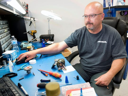 Brett Doyle works electronic components at Rausch Electronics on Wednesday,  June 27, 2018. Rausch Electronics, 1686 Opportunity Av., Chambersburg, manufactures CCTV pipe inspection equipment.