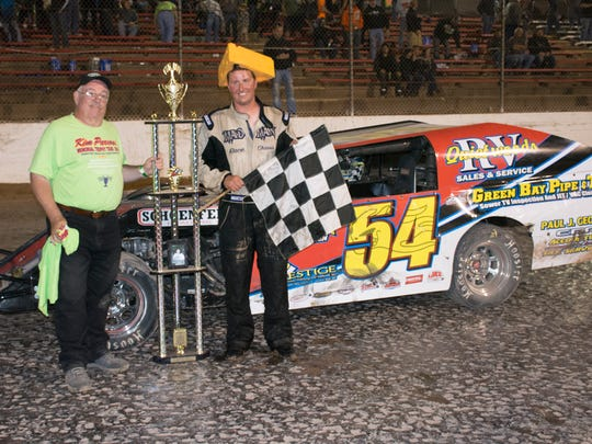 Luxemburg native Benji LaCrosse led all 50 laps Thursday en route to winning the $10,000 Clash at the Creek at 141 Speedway in Francis Creek.