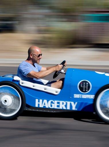 Andrew Bracanovich drives an Italiano kart Sept. 19,