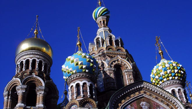 St. Petersburg's Church on Spilled Blood, with its fairy-tale onion domes, commemorates the spot where anarchists assassinated Czar Alexander II.