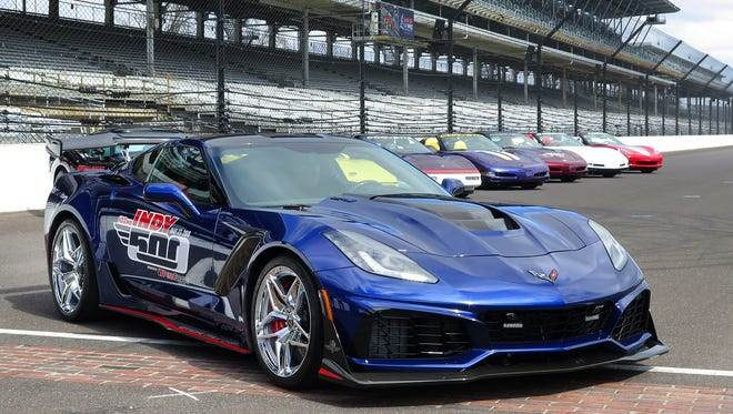 A Chevrolet Corvette ZR1 was introduced as the pace car for the 102nd Indianapolis 500 Thursday at Indianapolis Motor Speedway.