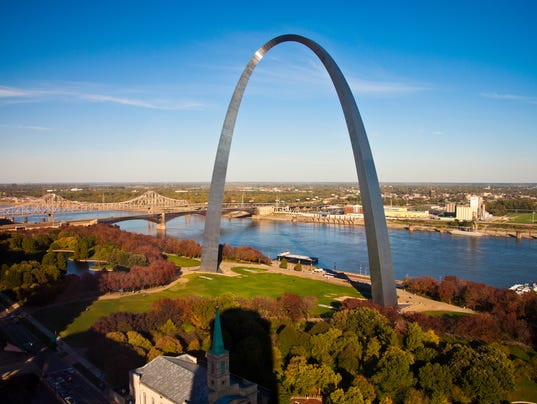 The Gateway Arch of St Louis, Missouri, taken from the sky