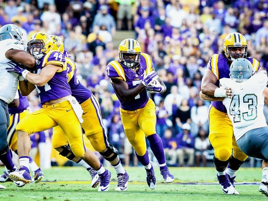 in the football game between LSU and Eastern Michigan at Tiger Stadium in Baton Rouge, Louisiana on October 03, 2015. Photo: Michael O. Curley