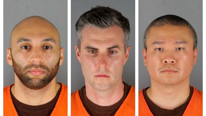 This combination of photos provided by the Hennepin County Sheriff's Office in Minnesota on Wednesday, June 3, 2020, shows J. Alexander Kueng, from left, Thomas Lane and Tou Thao. They have been charged with aiding and abetting Derek Chauvin, who is charged with second-degree murder of George Floyd, a black man who died after being restrained by the Minneapolis police officers on May 25.