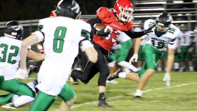 Carter Johnson had a strong night carrying the ball for the Cardinals as he went over 100 yards. Redwood Valley topped Pipestone Area 18-7.
