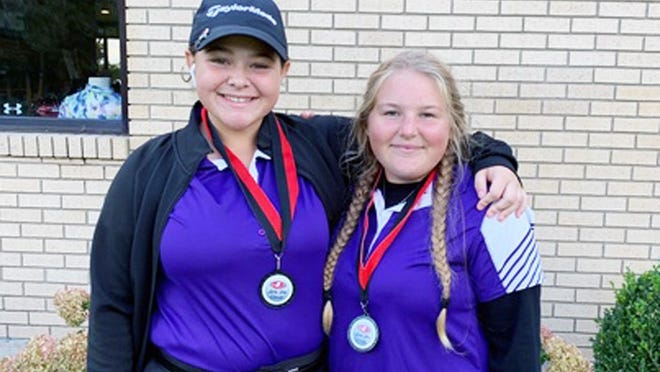 Camdenton's Sydney Righter (left) and Kayle Stewart (right).