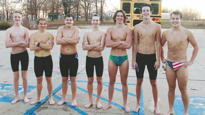 The Camdenton boys swim team at the Westlake Aquatic Center in Laurie on Wednesday, November 11, where the Lakers were preparing for state.