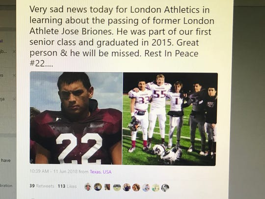 A Twitter account from the London Independent School District wrote a post about former student Jose Briones. Briones, who graduated in 2015, drowned in Falcon Lake.