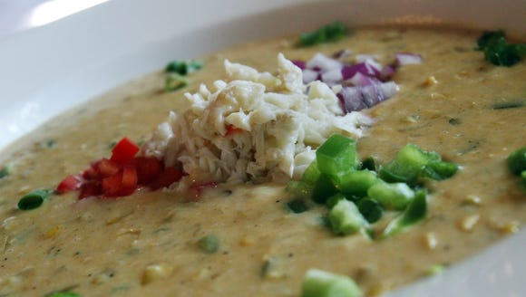 Blue Dog Cafe's corn and crab bisque is part of an