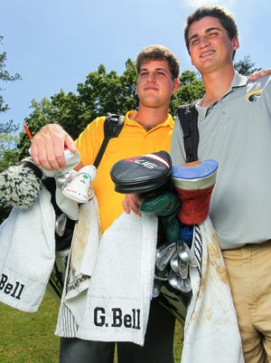 Weston Bell, left, and Grayson Bell of the Anderson University golf team before practice at Cobbs Glen in Anderson on Thursday.