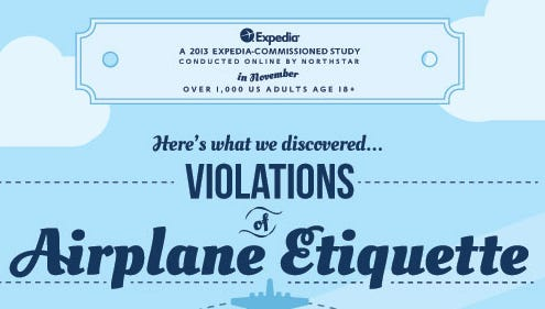 Expedia's guide to violations of airplane etiquette.
