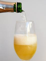 Peach Basil Mimosa available at We Olive & Wine Bar.