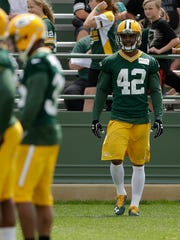 Green Bay Packers safety Morgan Burnett (42) during Organized Team Activities at Ray Nitschke Field on Thursday, June 2, 2016.