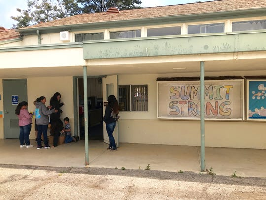 Students stand outside Summit School in Upper Ojai.