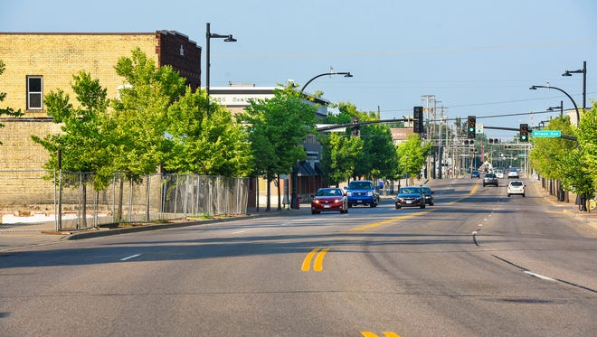 East St. Germain Street in St. Cloud has a history of ups and downs. This photo was taken looking east from Second Avenue Northeast on Thursday, July 20.