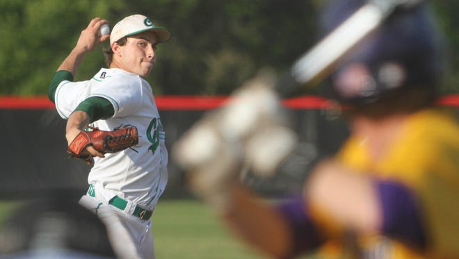 Pensacola Catholic's Bronson Chancellor delivers a pitch in Tuesday's 14-3 victory over Marianna in the first round of the District 1-4A baseball tournament at West Florida High.