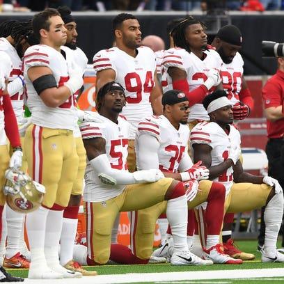San Francisco 49ers outside linebacker Eli Harold (57),