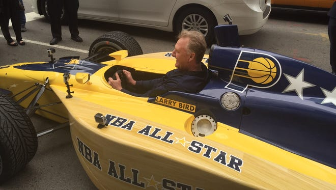 Larry Bird delivered the Pacers' All-Star game bid in an Indy car in Manhattan on Monday.