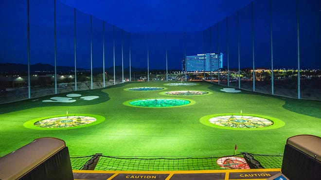 Topgolf, a golf entertainment venue, can accommodate more than 600 players at once and features 102 driving bays.