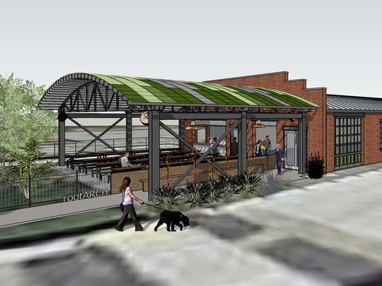 A rendering showing the patio at Von Elrod's  Beer