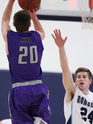 Kiel's Carter Voelker (20) will compete in Saturday's WIAA Boys Basketball 3-Point Challenge at the Kohl Center.