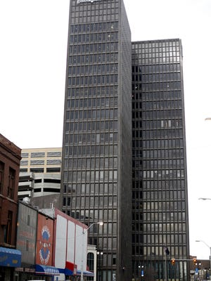 WeWork co-working spaces will occupy three floors of this 1001 Woodward office tower in downtown Detroit.