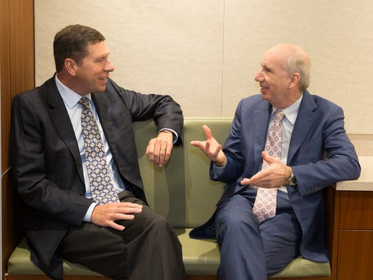 From left, Dr. John Murphy, left, president and chief executive of Western Connecticut Health Network, and Robert Friedberg, president and chief executive of Health Quest.