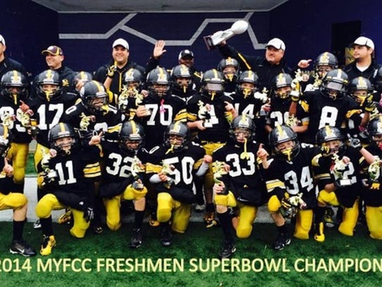 Members of the Plymouth-Canton Steelers freshmen football
