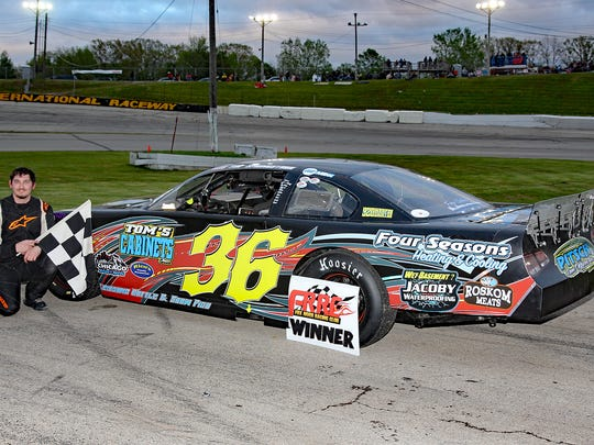 Tim Springstroh, shown in victory lane, and his sister Tarra Springstroh are keeping the family tradition alive on Thursday nights at Wisconsin International Raceway in Buchanan.