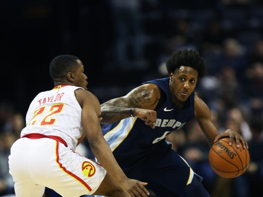 December 15, 2017 - Memphis Grizzlies guard Mario Chalmers (6) is defended by Atlanta Hawks guard Isaiah Taylor (22) during the first quarter at FedExForum on Friday.