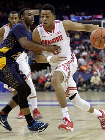 Ohio State's D'Angelo Russell drives to the basket.